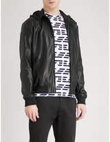 Emporio Armani Hooded Faux-leather Bomber Jacket