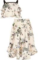 River Island Girls Pink floral crop top and maxi skirt set