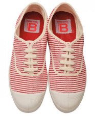 Bensimon Red Rayes Plimsoll Shoes - Size 38 UK5 - Red/White