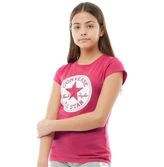 Converse Junior Girls Chuck Taylor Signature T-Shirt Pink Pop