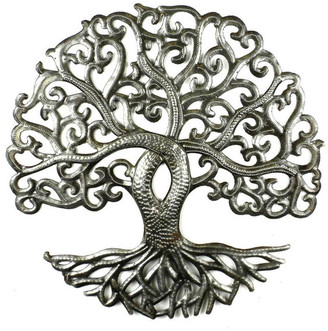 Global Crafts Tree of Life Curly Recycled Metal Wall Art