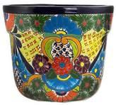 Hand Crafted Ceramic Talavera Flower Pot with Floral Motif, 'Talavera Beauty'