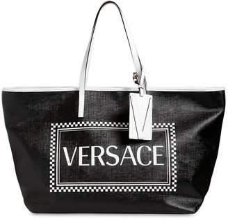 Versace LOGO PRINT COATED CANVAS TOTE