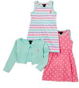 U.S. Polo Assn. Mint Stripe & Polka-Dot A-Line Dress & Shrug - Infant & Toddler