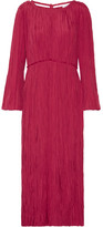 Lemaire Pleated Satin Midi Dress - Crimson