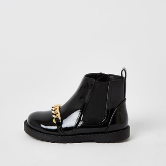 River Island Mini girls black patent chain front boots