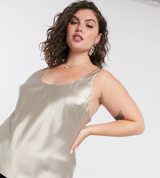 ASOS DESIGN Curve scoop neck cami in satin in mink
