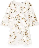 Marchesa Embellished Tulle Mini Dress - White