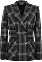 Alexander McQueen Checked Silk And Wool-blend Blazer - Charcoal
