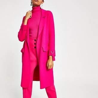 River Island Bright pink knitted duster jacket