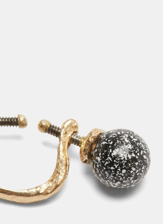 Pearls Before Swine Floating Painted Pearl Earring in Gold and Black