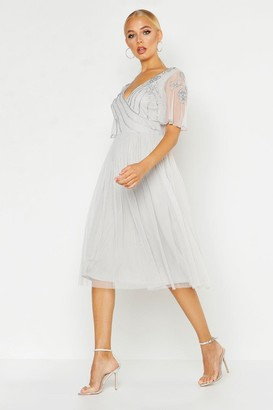 boohoo Embellished V Neck Midi Skater Bridesmaid Dress