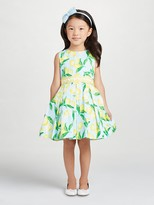 Oscar de la Renta Painted Lemons Cotton Party Dress