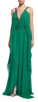Theia Sleeveless Embellished Belted Caftan Dress