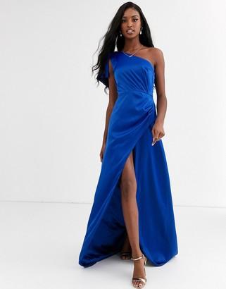 Chi Chi London satin one shoulder statement maxi dress in cobalt