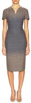 Carolina Herrera Wool Printed V-Neck Day Dress