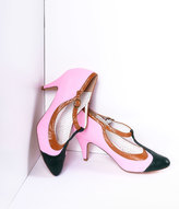 Pleaser USA Blush Pink Tricolor Leatherette T-Strap Pumps