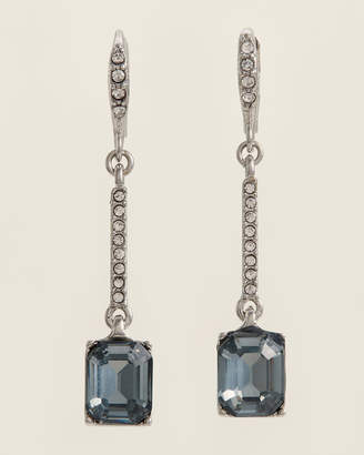 Givenchy Rhodium-Tone & Blue Linear Earrings
