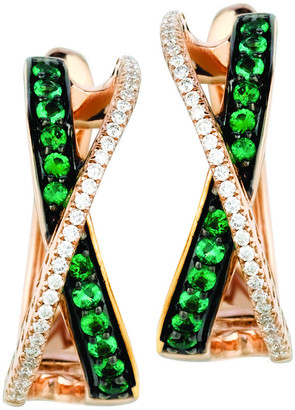 LeVian Le Vian 14K Rose Gold 0.41 Ct. Tw. Diamond & Costa Smeralda Emeralds Earrings