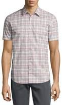 John Varvatos Mayfield Slim-Fit Short-Sleeve Plaid Shirt, White