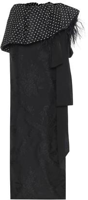 Dries Van Noten Feather-trimmed polka-dot maxi skirt
