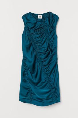 H&M Draped Satin Dress - Turquoise