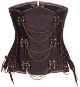 Kranchungel Women's Retro Goth Steel Boned Underbust Waist Training Corset with Chains Medium
