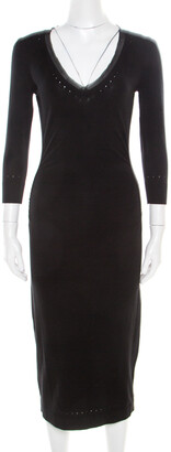 Max Mara Black Perforated Knit Detail Ruched V-Neck Dress S