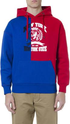 Tommy Hilfiger Blue & Red Color Block Hoodie