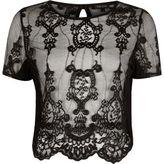 River Island Womens Black sheer lace short sleeve T-shirt