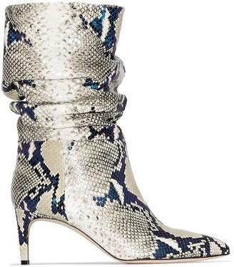 Paris Texas 60mm Python-Print Leather Ankle Boots