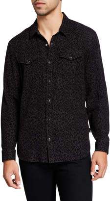 John Varvatos Men's Marshal Regular-Fit Leopard Sport Shirt