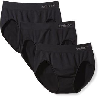 Arabella Amazon Brand Women's Seamless Hi Cut Brief Panty 3 Pack