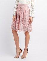 Charlotte Russe Embroidered Crochet Midi Skirt