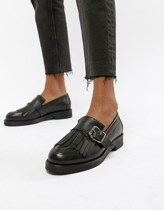 Office Fisher chunky black leather fringed buckle loafers