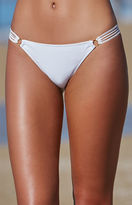 La Hearts Shadow Stripe Mesh Trim Cheeky Bikini Bottom