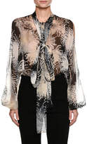 No.21 No. 21 Tie-Neck Floral-Print Silk Blouse