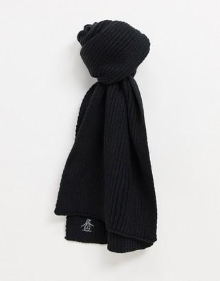 Original Penguin Original Penguins rib scarf in black and silver grey