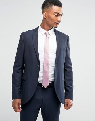 Jack and Jones Slim Suit Jacket in Texture-Navy