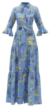 Beulah - Nalini Floral-print Silk-satin Dress - Womens - Blue Multi