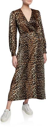 Ganni Leopard-Print Surplice Long-Sleeve Stretch-Silk Satin Dress
