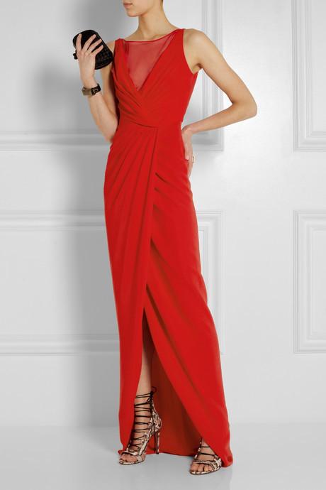 Giambattista Valli Gathered silk-voile and stretch-cady gown