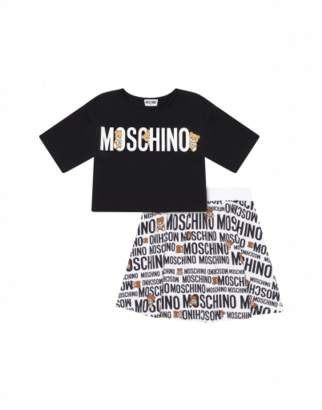 Moschino Teddy Logo T-shirt And Skirt Set Woman Black Size 8a It - (8y Us)
