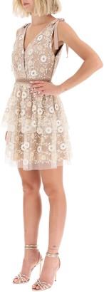 Self-Portrait Mini Dress With Sequin Flowers