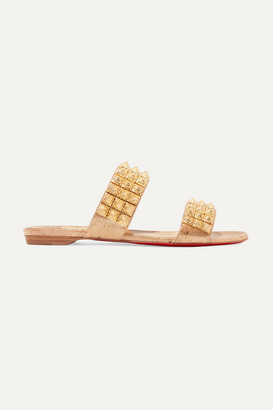 Christian Louboutin Myriadiam Spiked Lame-coated Cork Sandals - Gold