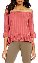 Jolt Jacquard Striped Off-The-Shoulder Bell-Sleeve Ruffle Hem Top