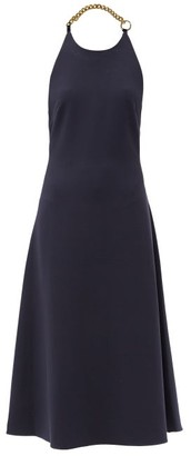 STAUD Moritz Chain-halter Crepe Midi Dress - Navy