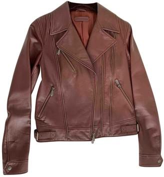 Bottega Veneta Burgundy Leather Leather Jacket for Women