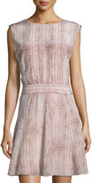 See by Chloe Lizard-Print Sleeveless Fit-&-Flare Dress, Light Gray