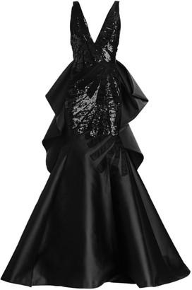 Carolina Herrera Sleeveless Sequin & Satin Trumpet Gown